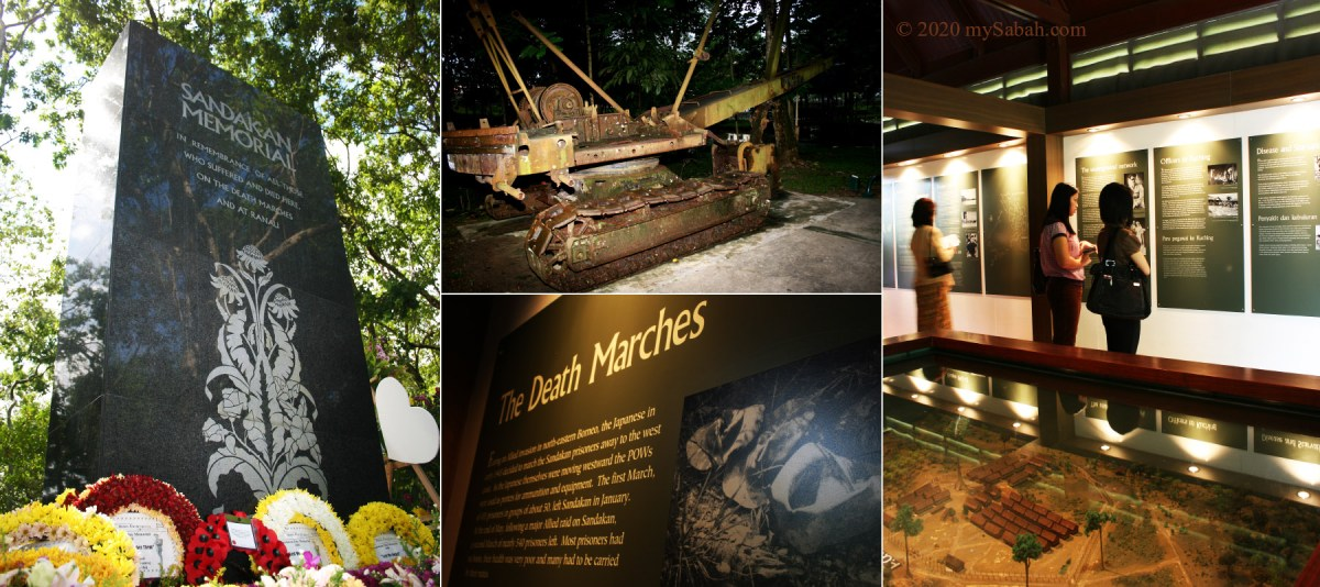 Monument, wartime relics (excavator) and Death Marches gallery in Sandakan Memorial Park
