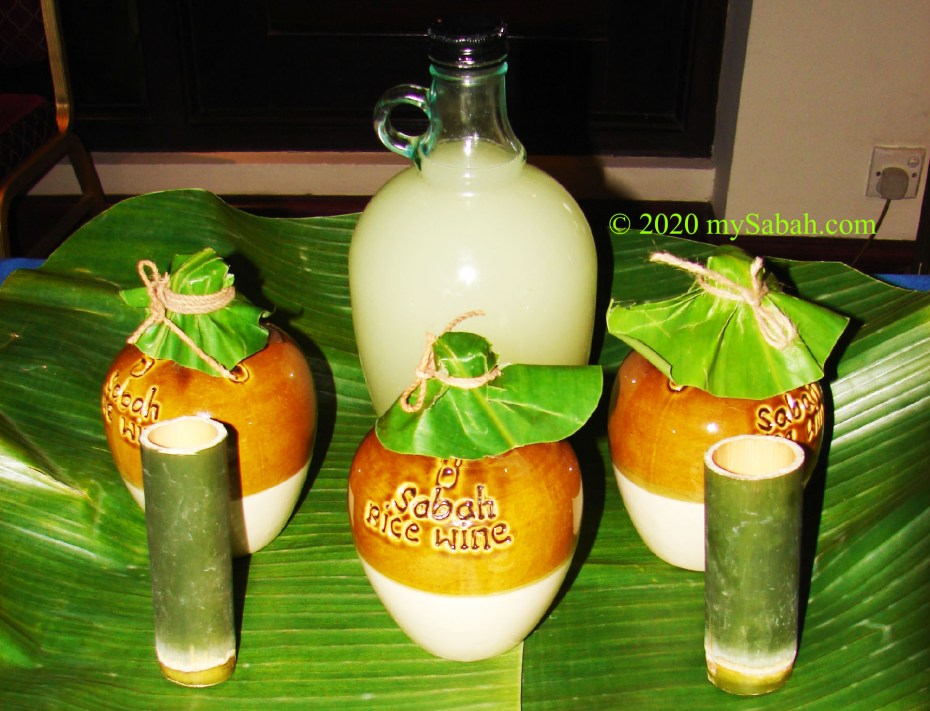Rice wine of Sabah in jars and bottle