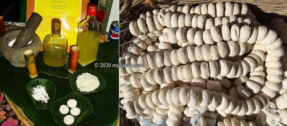 Left: ingredients for making Lihing. Right: Yeast balls
