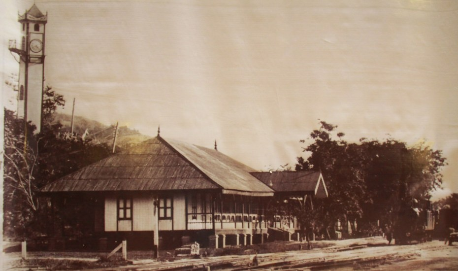 Picture of Atkinson Clock Tower in 1915. The building is the HQ of North Borneo Railway