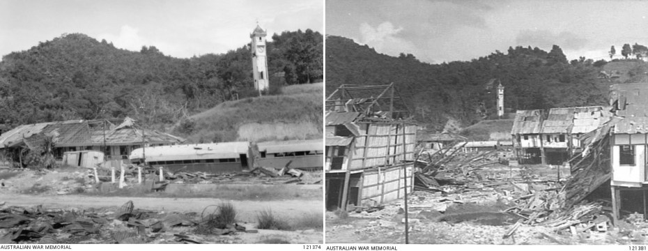 North Borneo Railway and Jesselton town after bombing in World War II. Atkinson Clock Tower is in the background.
