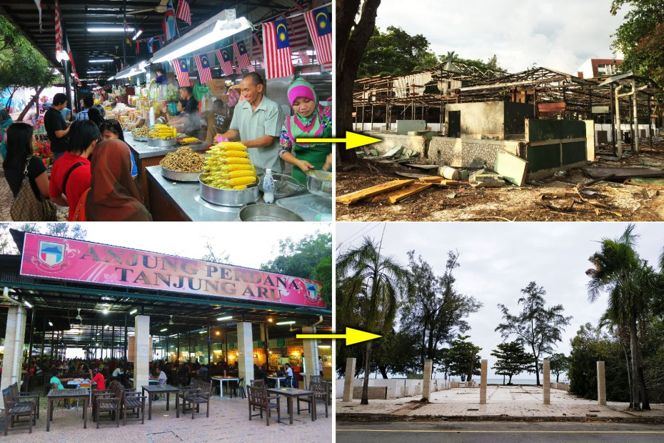 The hawker stalls and food court are demolished