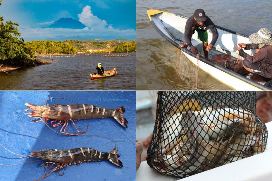 Fishermen and their caught in Mengkabong River