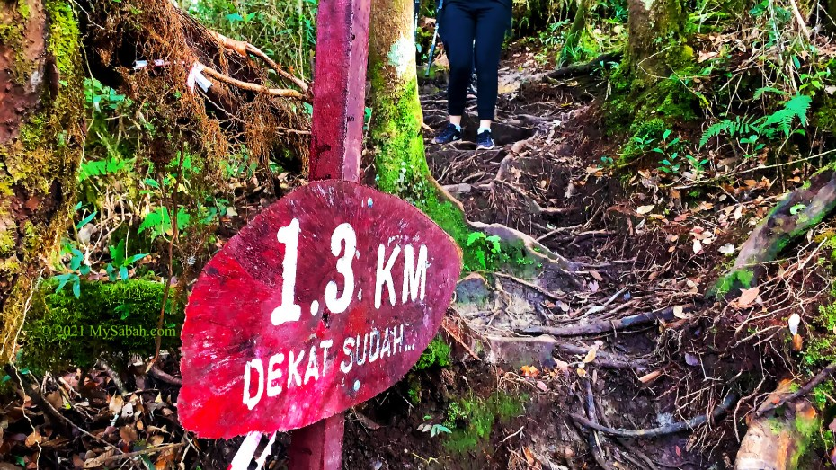 1.3-Kilometer trail mark on Maragang Hill