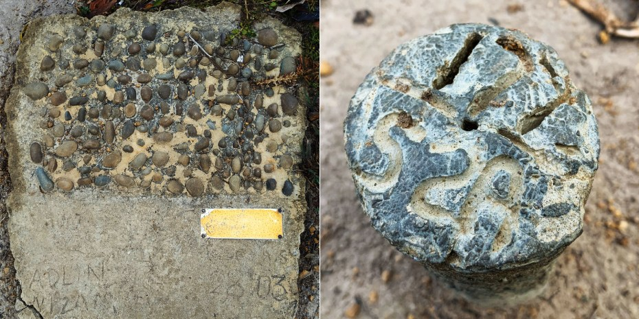 Survey markers on Nuluh Lapai