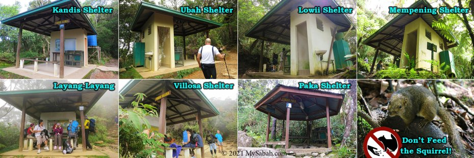 Shelters along the trail to Panalaban of Mount Kinabalu