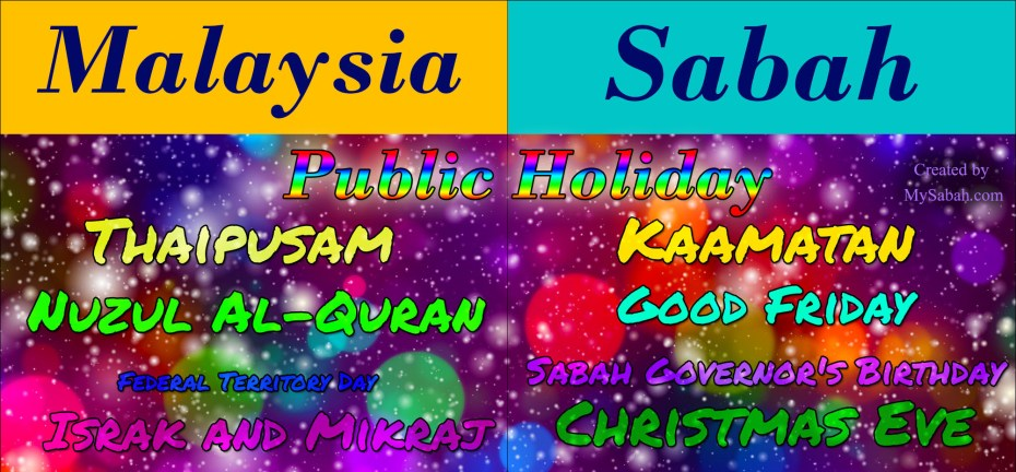 Public Holidays of Malaysia and Sabah