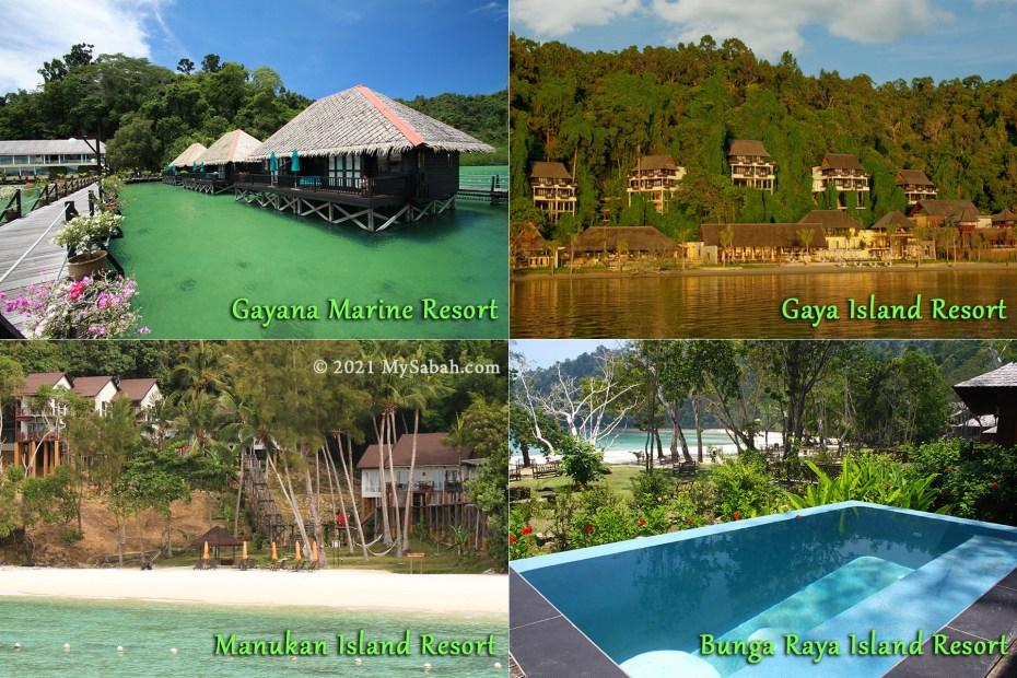 Island resorts in Gaya and Manukan Islands of Tunku Abdul Rahman Park