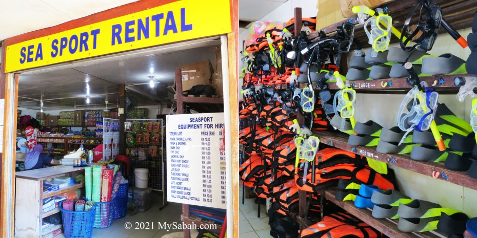 Snorkelling gears for rent in island shop