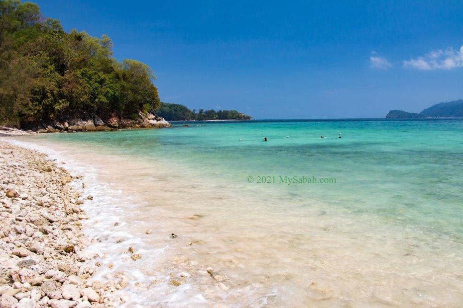 Rocky beach of Mamutik Island (Pulau Mamutik)