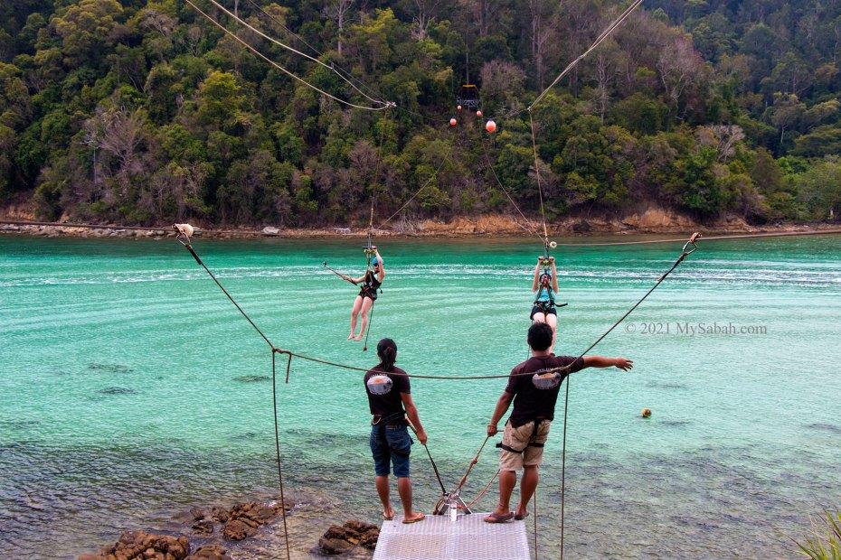 Coral Flyer zipline between Sapi and Gaya Island