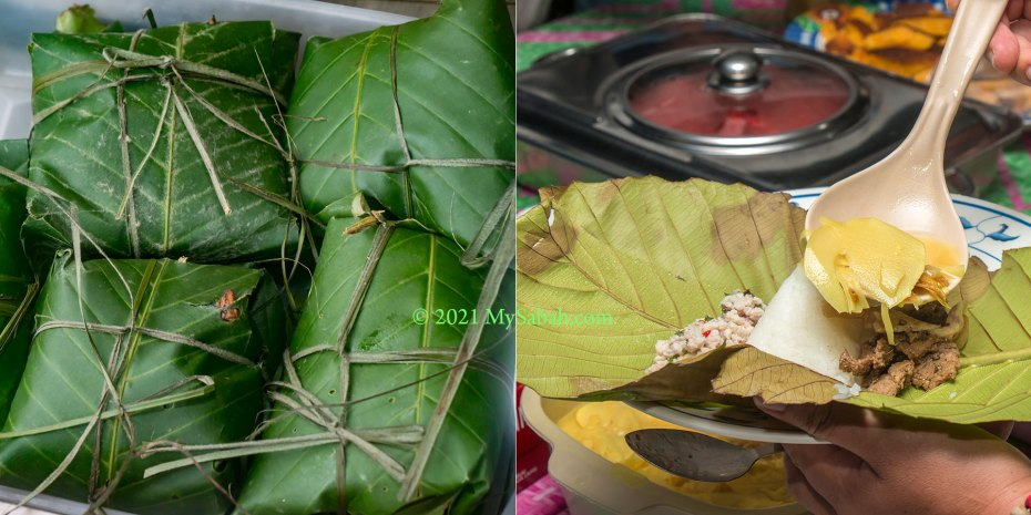 Linopot (packed rice) of Sabah natives