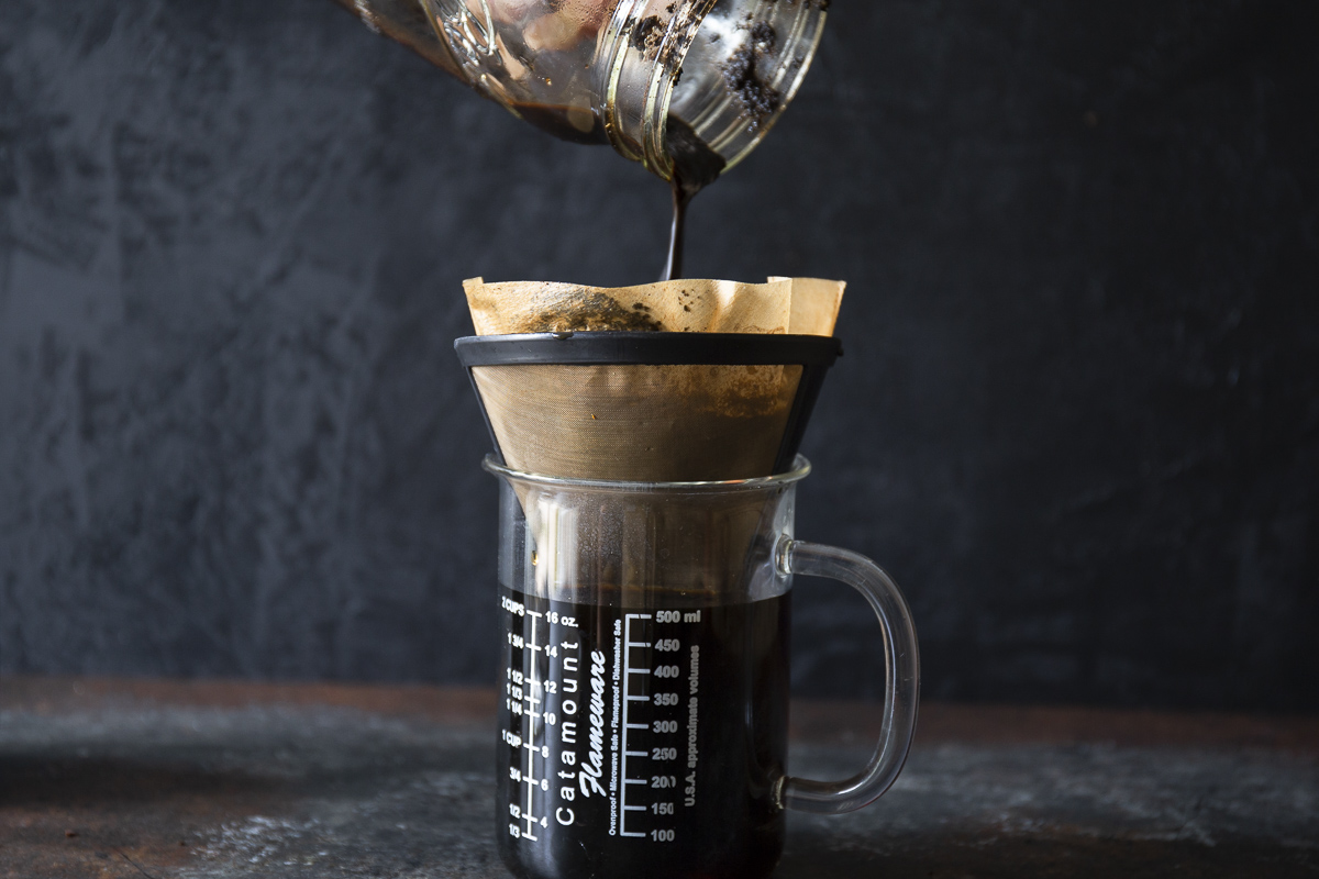 filtering cold brew coffee