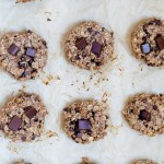 banana chocolate chip breakfast cookies on a baking sheet