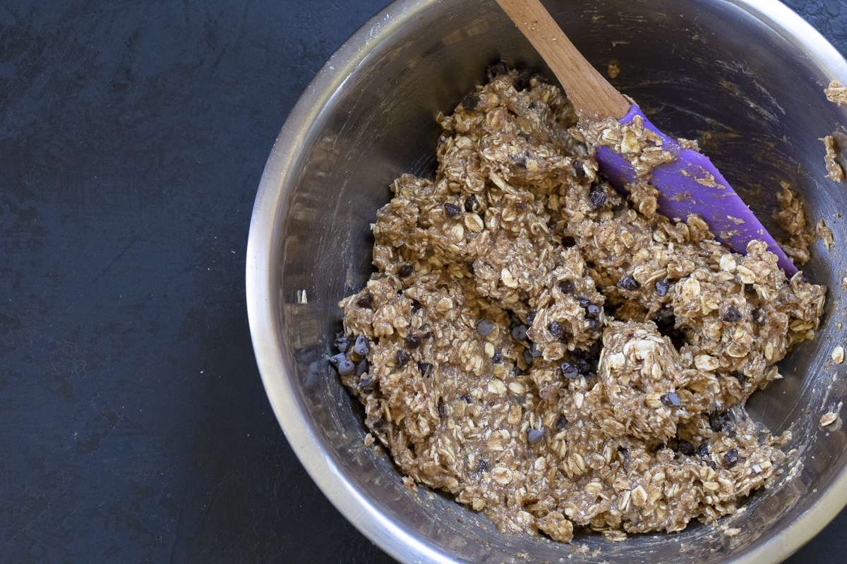 banana chocolate chip breakfast cookie mixture.