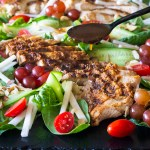 paleo and whole 30 friendly salad with chicken and balsamic viniagrette