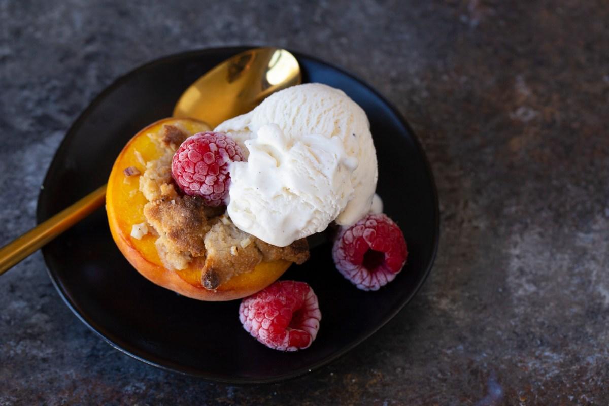 shortcut peach crisp w raspberries and vegan vanilla ice cream