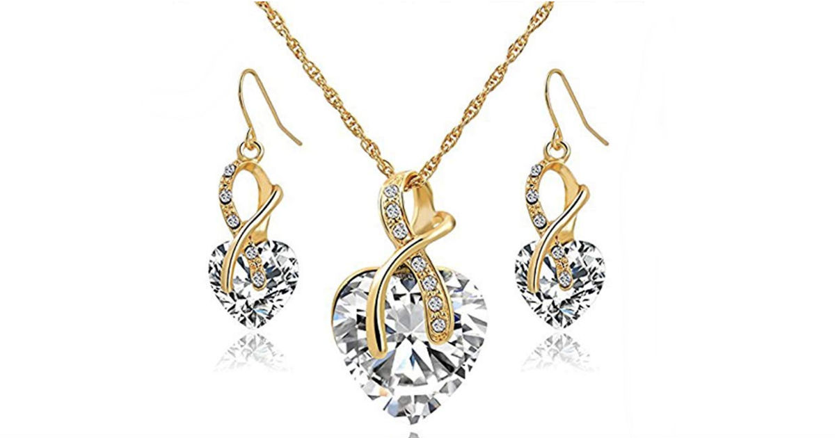 Crystal Heart Necklace Earrings Jewelry Set ONLY $3 Shipped