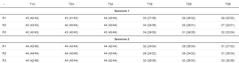 Tabella 2.Punteggi totali per percorso ad ostacoli parkour mostrato come mediana (25 ° / 75 ° percentile).Raters (R1, R2, R3), trial (T1, T2, T3), traceurs avanzati (A), principianti (B).