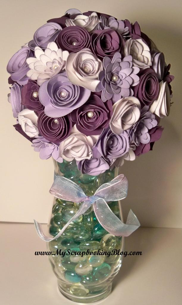 The flowers in this bouquet are made out of flowers using the CTMH Art Philosophy Cricut cartridge.