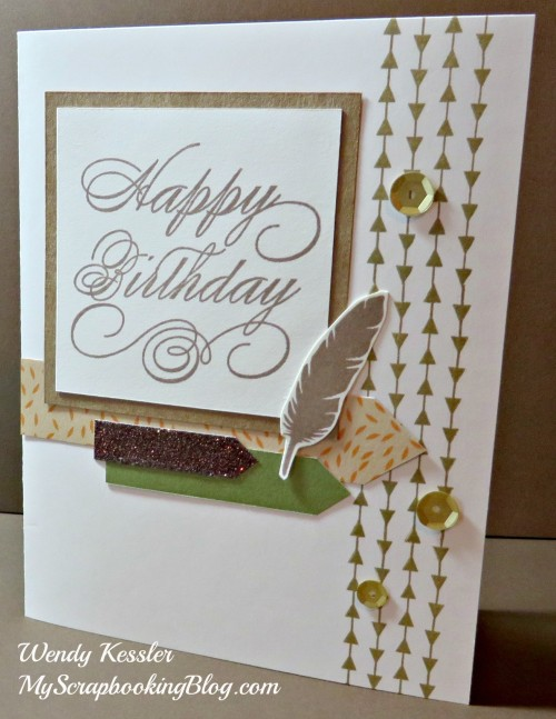 Happy Birthday feather card by Wendy Kessler