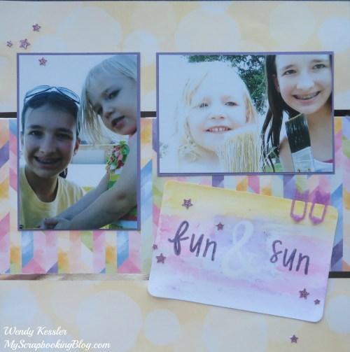 Fun & Sun Watercolor Layout by Wendy Kessler