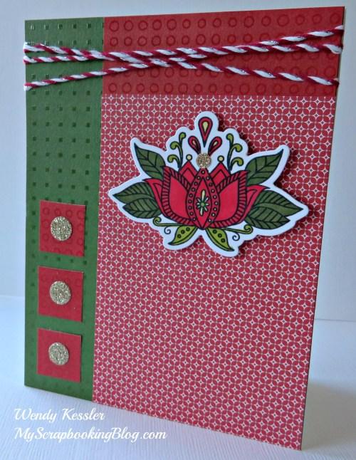 Ornate Blossoms Christmas Card by Wendy Kessler