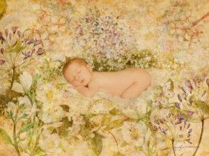 Alt_Fotografía bebé recién nacido floral by Georgia Porredón