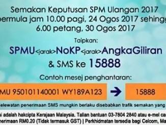 Semakan Keputusan SPMU 2017 Online SMS