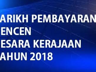 Jadual Pembayaran Pencen 2018 Pesara Kerajaan