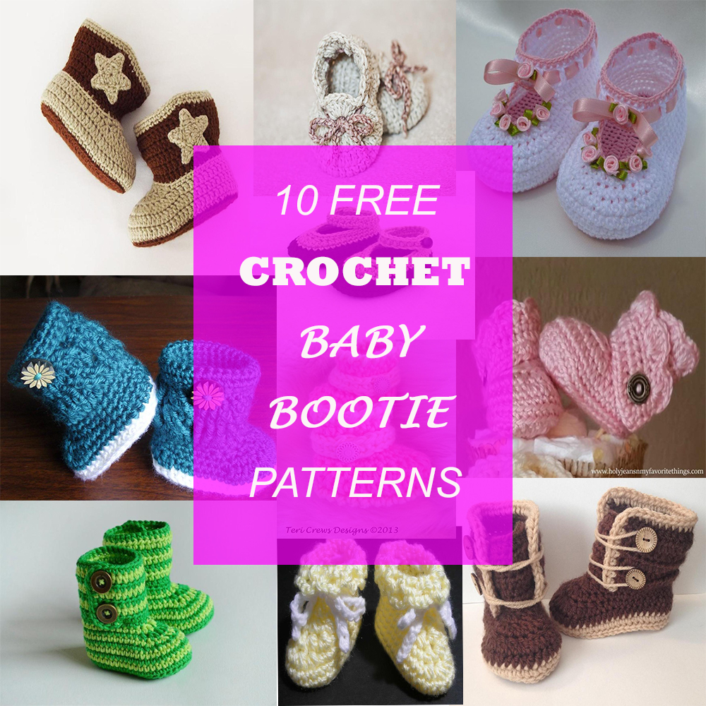 10 FREE BABY BOOTIE PATTERNS - Makes A Perfect Gift For Babies.