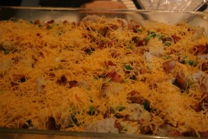 breakfast casserole before baking