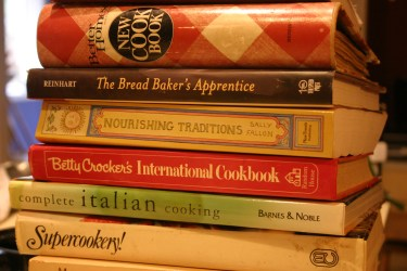 stacks of cookbooks