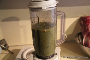 Blended tomatillos for Roasted Tomatillo Chipotle Salsa