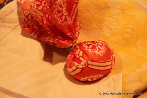 egg wrapped in silk for silk-dyed EAster eggs