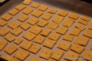 Individual cheese crackers are ready to bake