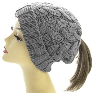 45a8d0fecc8 Warm Cable Knit Ponytail Messy Bun Beanie Hat with Hole for Bun – Great  Earmuff and Headband Alternative – Slouchy Beanie Winter Hat for Women and  Girls ...