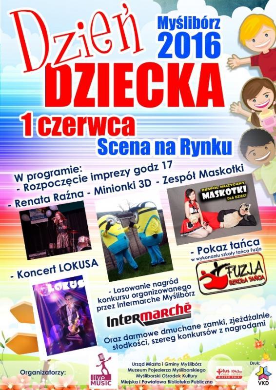 plakat informujący o Dniu Dziecka w Myśliborzu