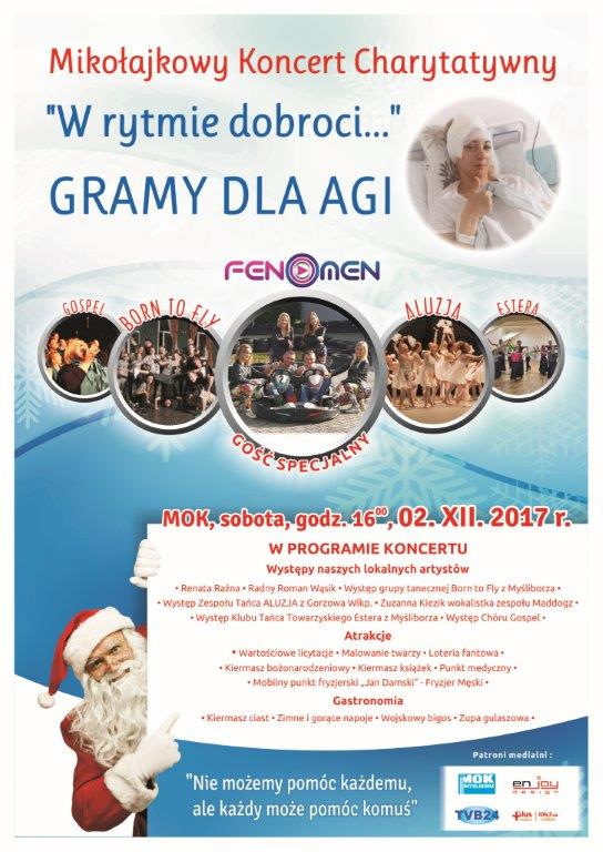 plakat z programem koncertu charytatywnego Gramy dla Agi