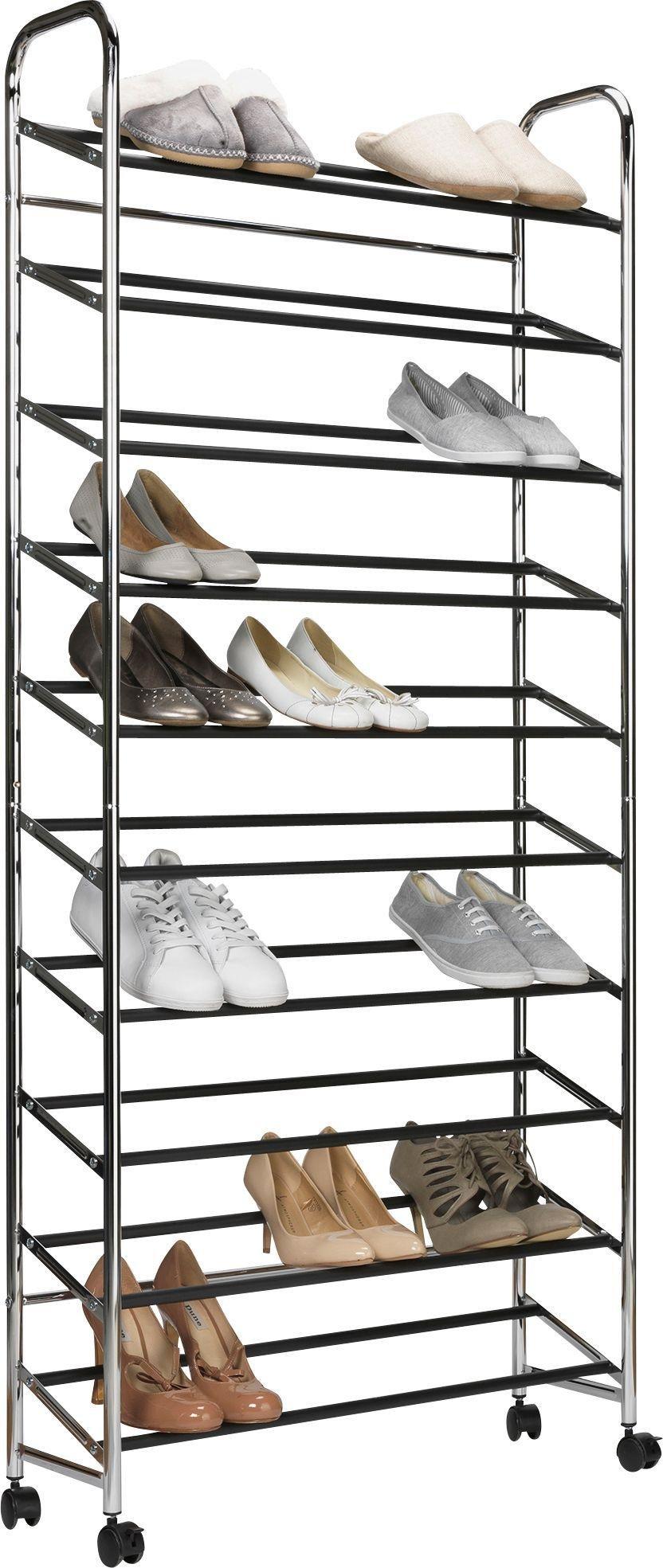 home 10 shelf rolling shoe storage rack chrome