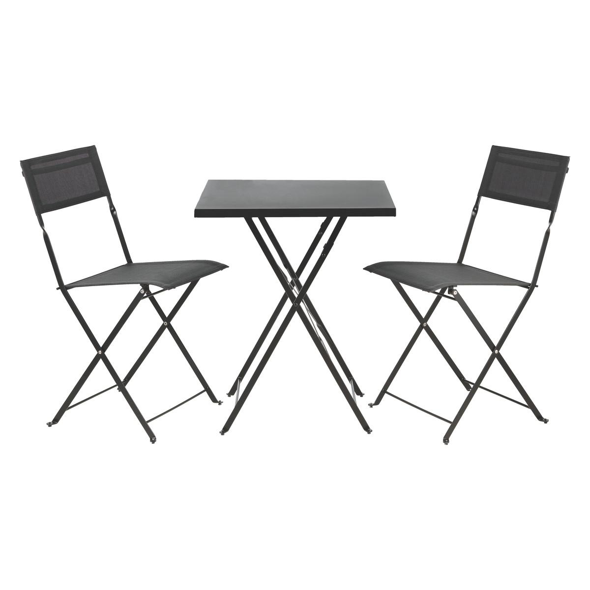 black metal folding garden chairs oversized chair slipcover habitat grange 2 seat table and