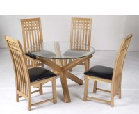 Ophelia Round Glass Dining Table and Mirelle Chairs medium ...