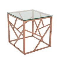Betty Glass Lamp Table In Clear With Rose Gold Base Frame ...