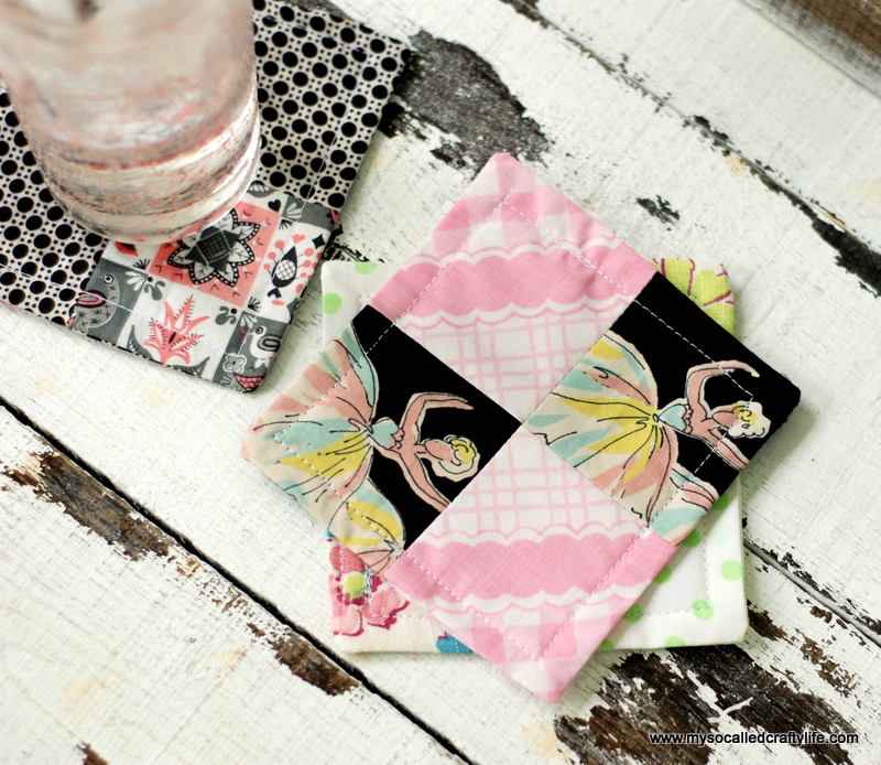 vintage fabric patchwork coasters