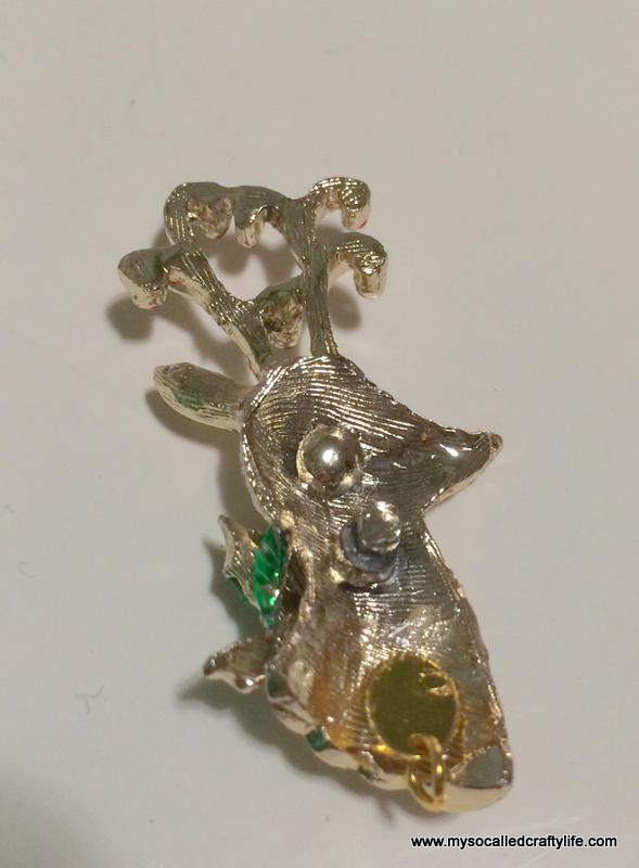 DIY Vintage Christmas Brooch Necklace - My So Called Crafty Life