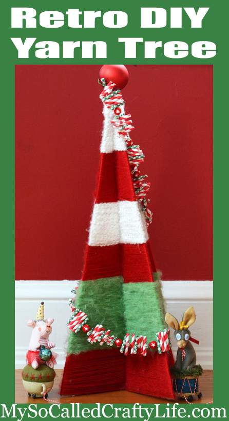 Diy Vintage Yarn Wrapped Christmas Tree My So Called