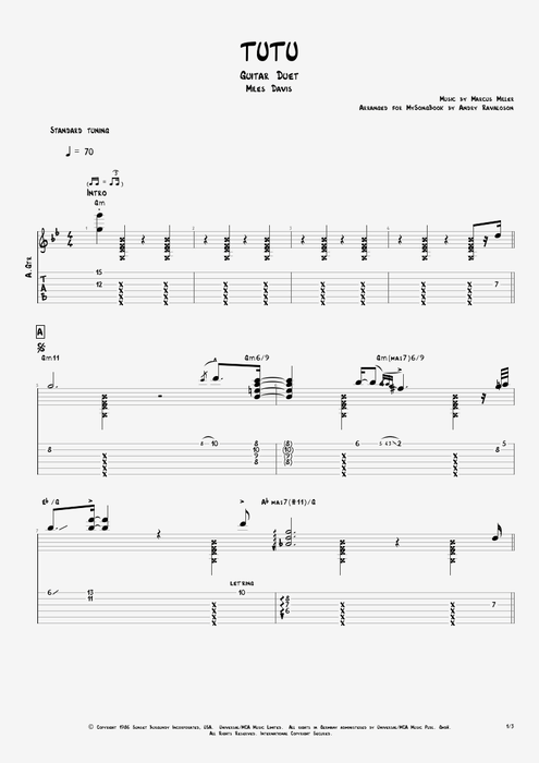 Tutu By Miles Davis Guitar Duet Guitar Pro Tab
