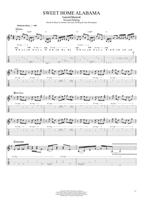 Country living editors select each product featured. Sweet Home Alabama By Lynyrd Skynyrd Full Score Guitar Pro Tab Mysongbook Com