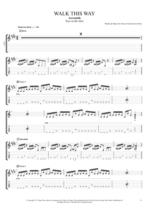 Walk This Way By Aerosmith Full Score Guitar Pro Tab