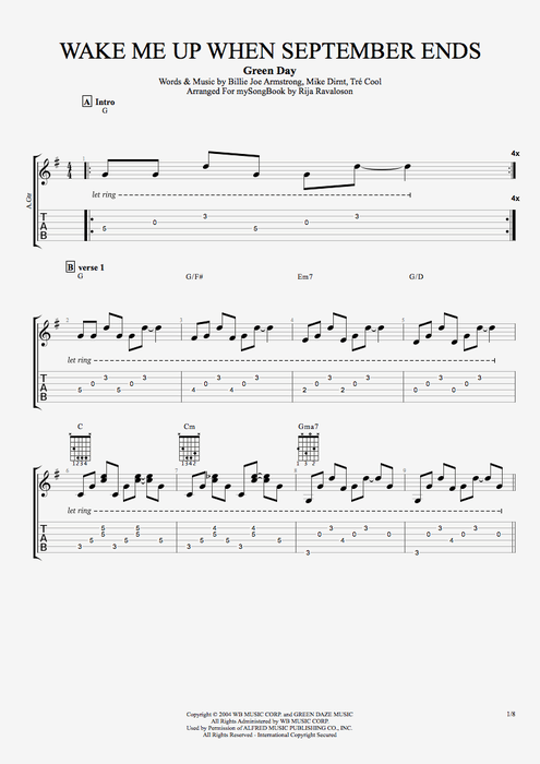 Colorful Green Day Holiday Guitar Chords Pattern - Beginner Guitar ...